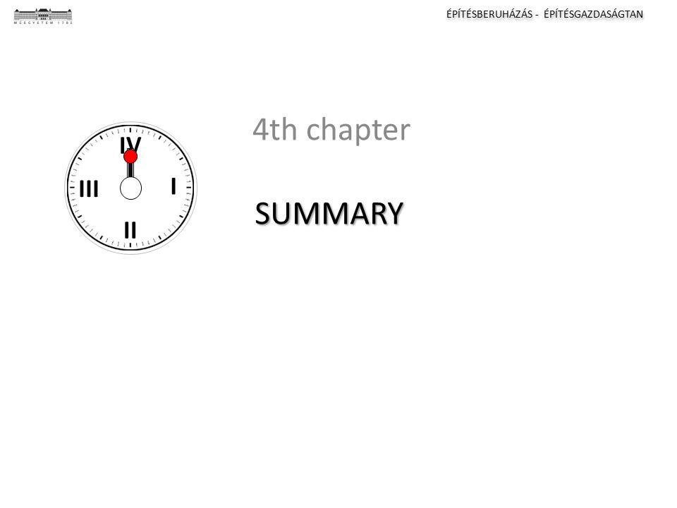 ÉPÍTÉSBERUHÁZÁS - ÉPÍTÉSGAZDASÁGTAN I II III IV SUMMARY 4th chapter I II III IV