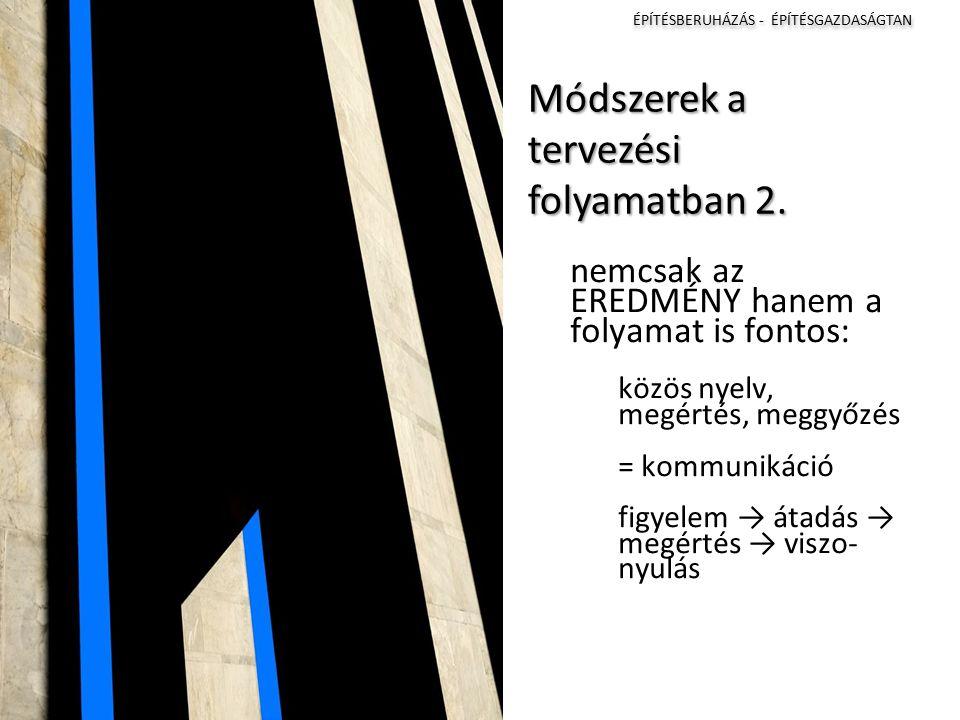 ÉPÍTÉSBERUHÁZÁS - ÉPÍTÉSGAZDASÁGTAN I II III IV Módszerek a tervezési folyamatban 2.