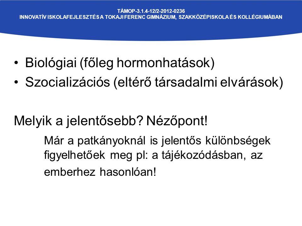 TÁMOP-3.1.4-12/2-2012-0236 INNOVATÍV ISKOLAFEJLESZTÉS A TOKAJI FERENC GIMNÁZIUM, SZAKKÖZÉPISKOLA ÉS KOLLÉGIUMÁBAN Biológiai (főleg hormonhatások) Szocializációs (eltérő társadalmi elvárások) Melyik a jelentősebb.