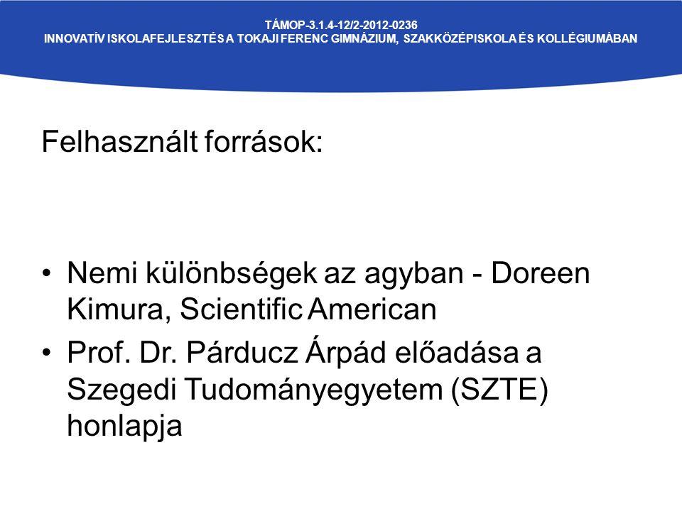 TÁMOP-3.1.4-12/2-2012-0236 INNOVATÍV ISKOLAFEJLESZTÉS A TOKAJI FERENC GIMNÁZIUM, SZAKKÖZÉPISKOLA ÉS KOLLÉGIUMÁBAN Felhasznált források: Nemi különbségek az agyban - Doreen Kimura, Scientific American Prof.