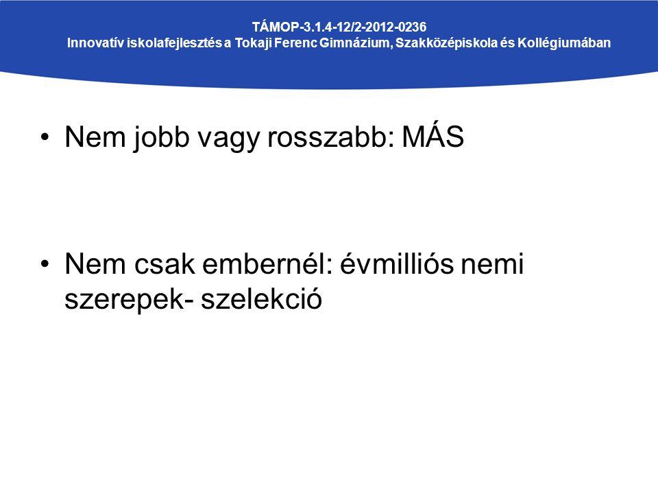 Nem jobb vagy rosszabb: MÁS Nem csak embernél: évmilliós nemi szerepek- szelekció TÁMOP-3.1.4-12/2-2012-0236 Innovatív iskolafejlesztés a Tokaji Ferenc Gimnázium, Szakközépiskola és Kollégiumában