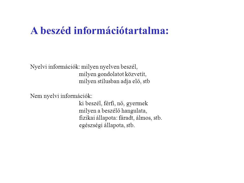 A beszéd információtartalma: Nyelvi információk: milyen nyelven beszél, milyen gondolatot közvetít, milyen stílusban adja elő, stb Nem nyelvi informác