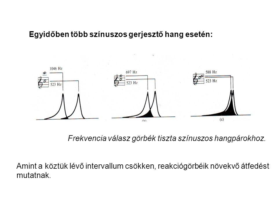 Frekvencia válasz görbék tiszta színuszos hangpárokhoz. Amint a köztük lévő intervallum csökken, reakciógörbéik növekvő átfedést mutatnak. Egyidőben t