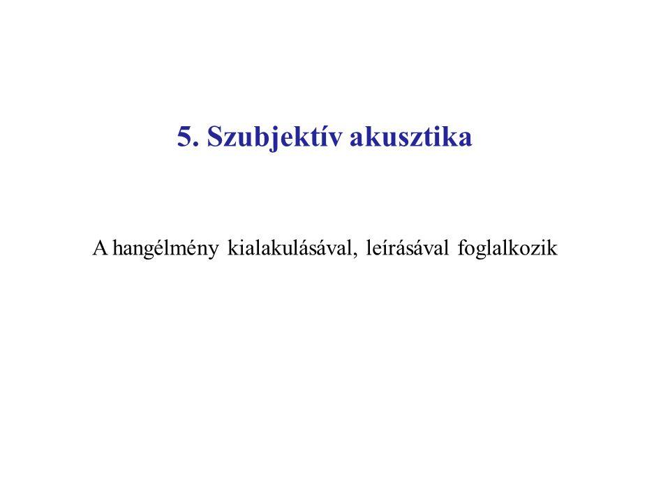 5. Szubjektív akusztika A hangélmény kialakulásával, leírásával foglalkozik