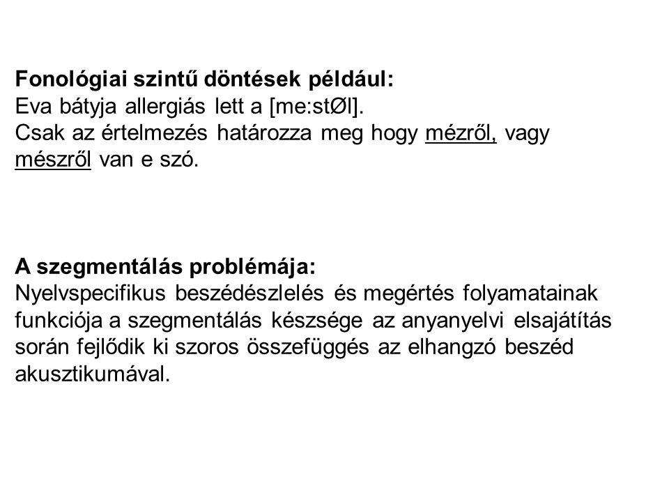 Fonológiai szintű döntések például: Eva bátyja allergiás lett a [me:stØl].