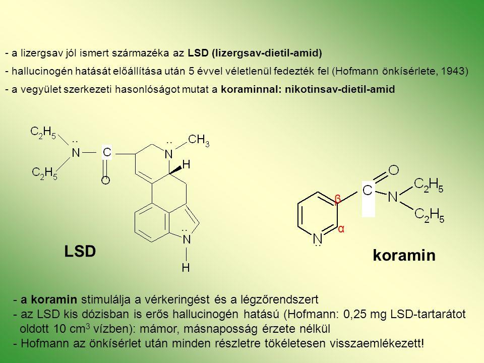 - a lizergsav jól ismert származéka az LSD (lizergsav-dietil-amid) - hallucinogén hatását előállítása után 5 évvel véletlenül fedezték fel (Hofmann önkísérlete, 1943) - a vegyület szerkezeti hasonlóságot mutat a koraminnal: nikotinsav-dietil-amid LSD..