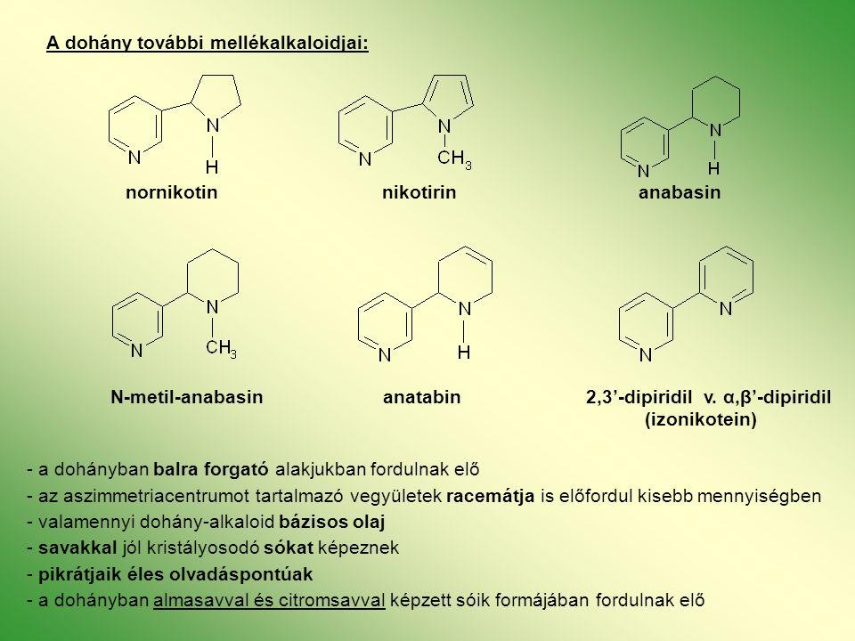 A dohány további mellékalkaloidjai: nornikotinnikotirinanabasin N-metil-anabasin anatabin 2,3'-dipiridil v.
