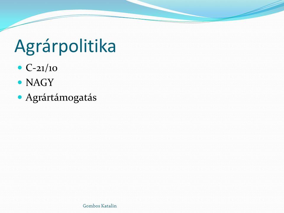 Agrárpolitika C-21/10 NAGY Agrártámogatás Gombos Katalin