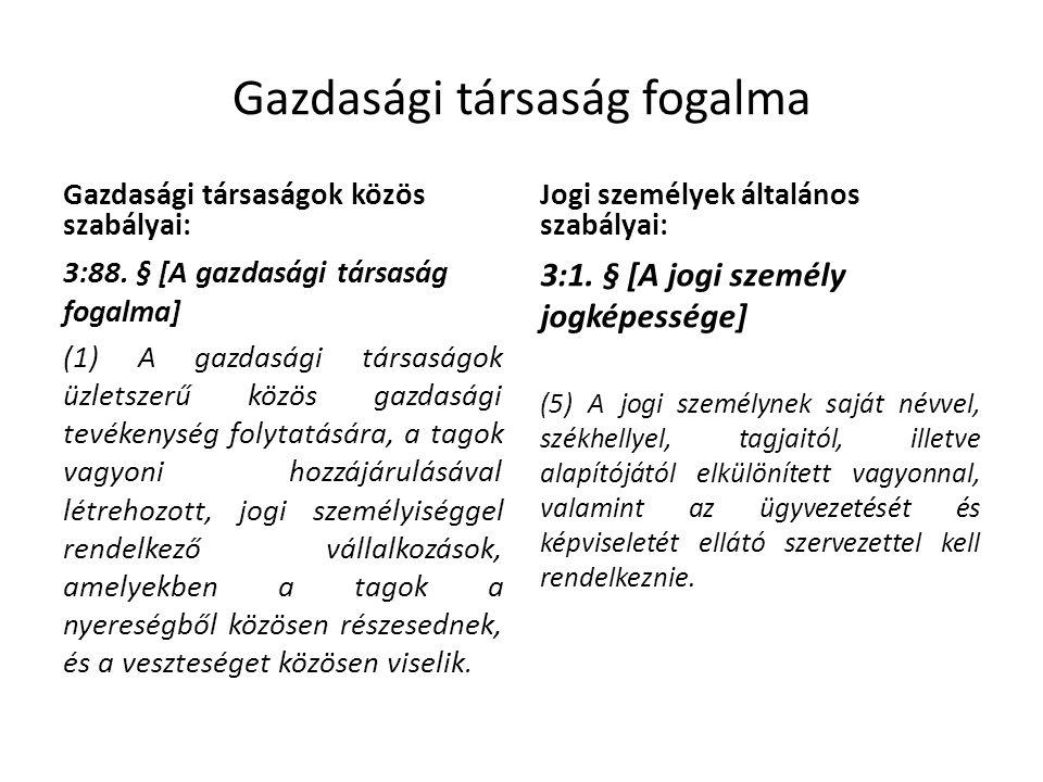 Gazdasági társaság fogalma Gazdasági társaságok közös szabályai: 3:88.
