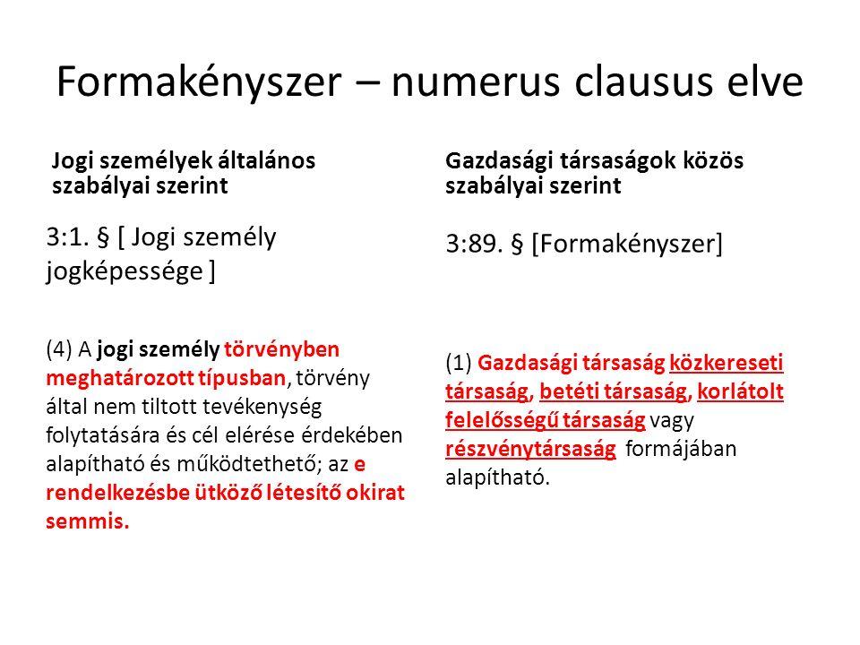 Formakényszer – numerus clausus elve Jogi személyek általános szabályai szerint 3:1.
