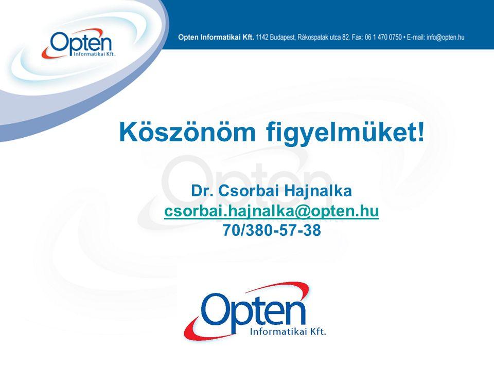 Köszönöm figyelmüket! Dr. Csorbai Hajnalka csorbai.hajnalka@opten.hu 70/380-57-38 csorbai.hajnalka@opten.hu