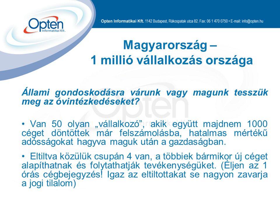 """Magyarország – 1 millió vállalkozás országa Állami gondoskodásra várunk vagy magunk tesszük meg az óvintézkedéseket? Van 50 olyan """"vállalkozó"""", akik e"""