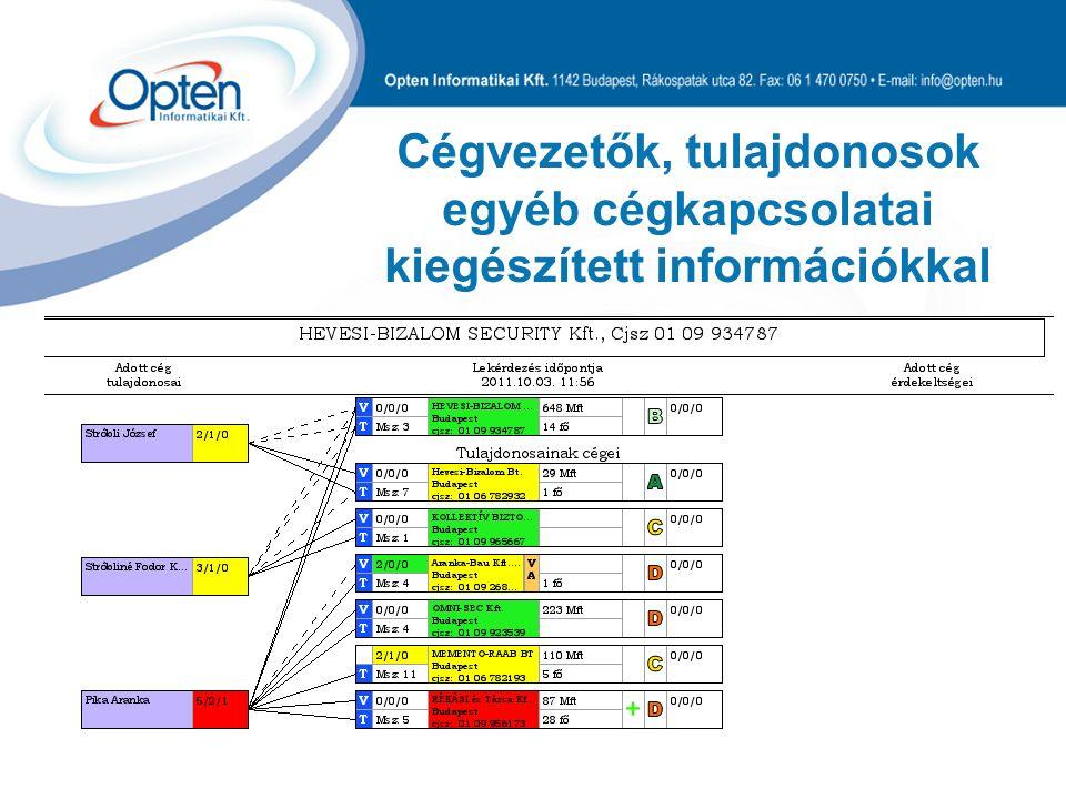Cégvezetők, tulajdonosok egyéb cégkapcsolatai kiegészített információkkal