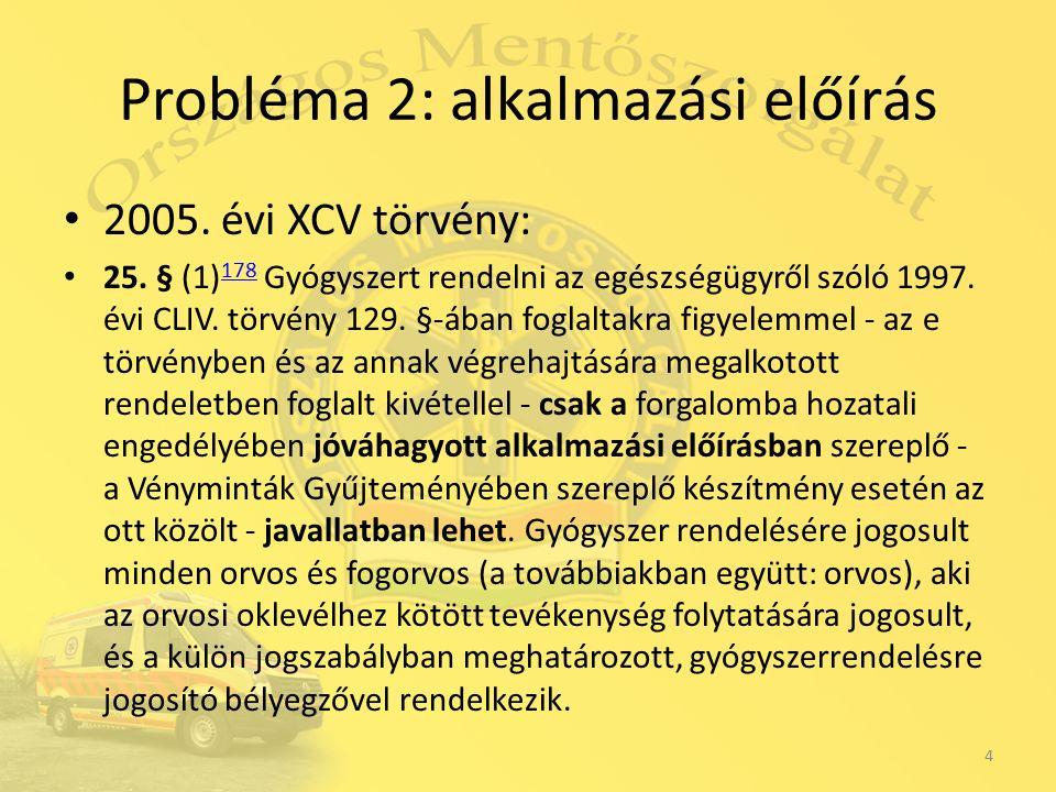 Probléma 2: alkalmazási előírás 2005. évi XCV törvény: 25.