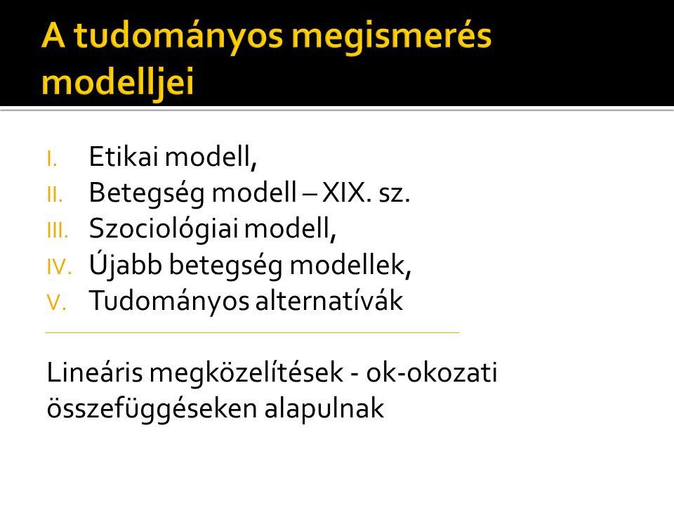 I. Etikai modell, II. Betegség modell – XIX. sz.