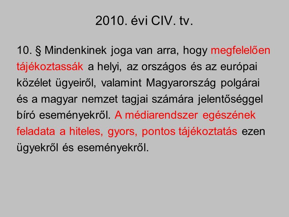 2010. évi CIV. tv. 10. § Mindenkinek joga van arra, hogy megfelelően tájékoztassák a helyi, az országos és az európai közélet ügyeiről, valamint Magya
