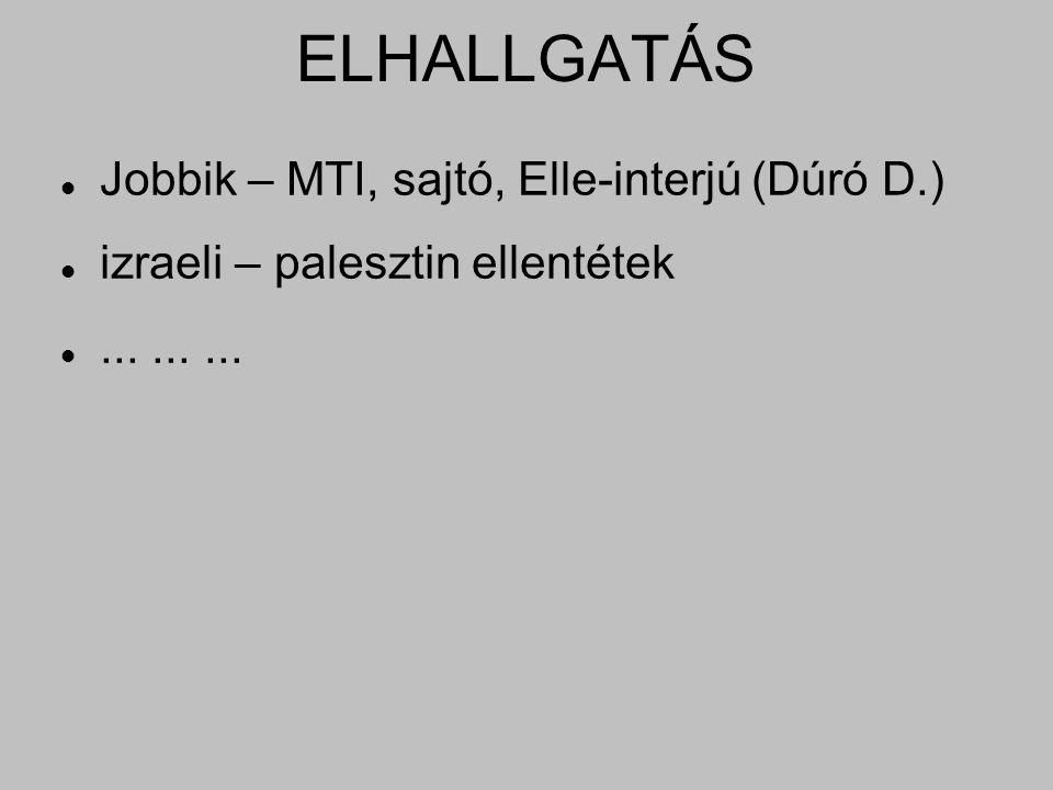 ELHALLGATÁS Jobbik – MTI, sajtó, Elle-interjú (Dúró D.) izraeli – palesztin ellentétek.........