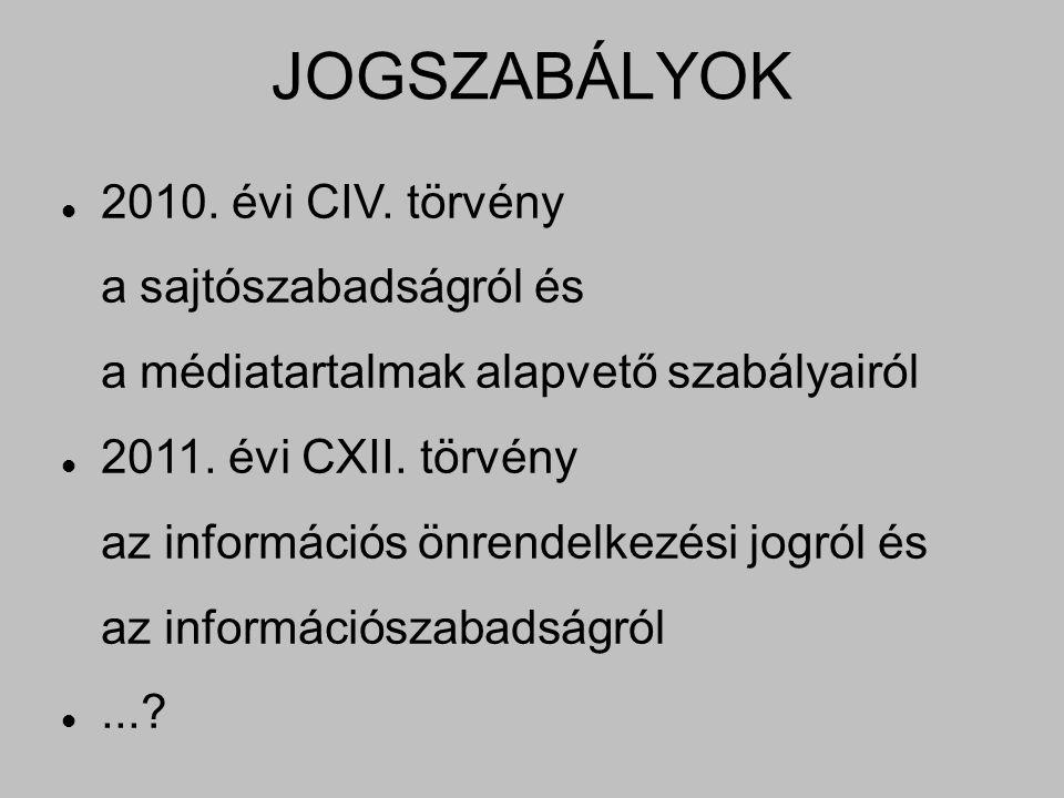JOGSZABÁLYOK 2010. évi CIV. törvény a sajtószabadságról és a médiatartalmak alapvető szabályairól 2011. évi CXII. törvény az információs önrendelkezés