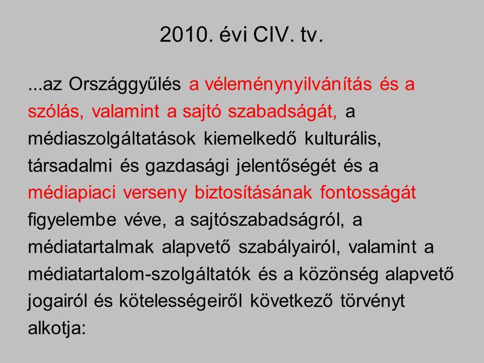 2010. évi CIV. tv....az Országgyűlés a véleménynyilvánítás és a szólás, valamint a sajtó szabadságát, a médiaszolgáltatások kiemelkedő kulturális, tár