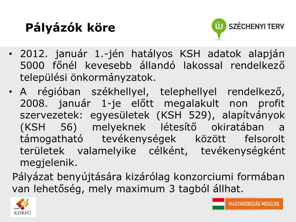 Pályázók köre 2012. január 1.-jén hatályos KSH adatok alapján 5000 főnél kevesebb állandó lakossal rendelkező települési önkormányzatok. A régióban sz