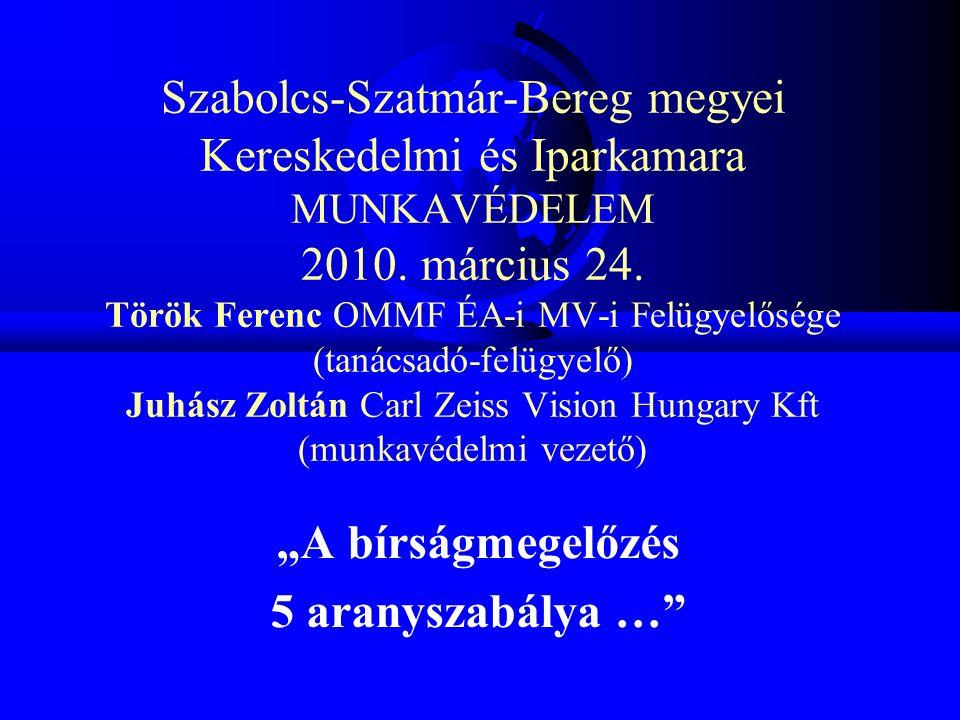Szabolcs-Szatmár-Bereg megyei Kereskedelmi és Iparkamara MUNKAVÉDELEM 2010. március 24. Török Ferenc OMMF ÉA-i MV-i Felügyelősége (tanácsadó-felügyelő
