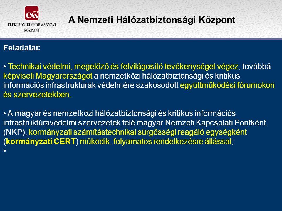 A Nemzeti Hálózatbiztonsági Központ Feladatai: Technikai védelmi, megelőző és felvilágosító tevékenységet végez, továbbá képviseli Magyarországot a nemzetközi hálózatbiztonsági és kritikus információs infrastruktúrák védelmére szakosodott együttműködési fórumokon és szervezetekben.
