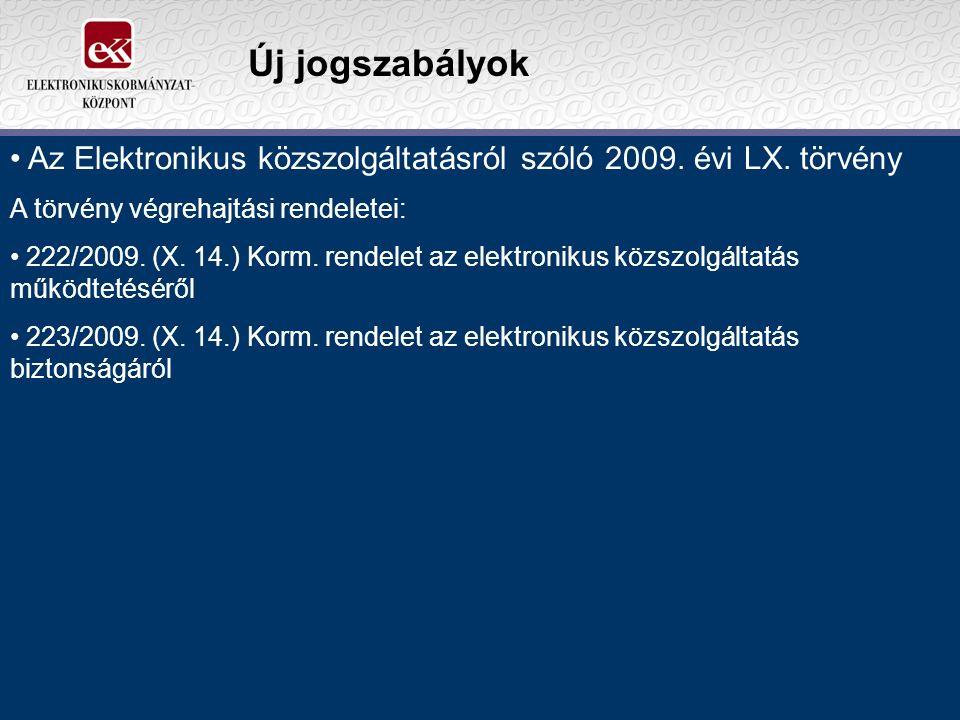 Új jogszabályok Az Elektronikus közszolgáltatásról szóló 2009.