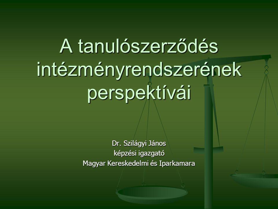 A tanulószerződés intézményrendszerének perspektívái Dr.