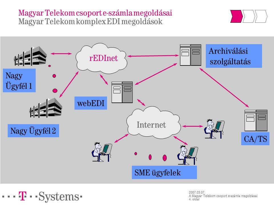 4. oldal 2007.03.07. A Magyar Telekom csoport e-számla megoldásai Nagy Ügyfél 1 Nagy Ügyfél 2 Internet webEDI SME ügyfelek rEDInet Archiválási szolgál