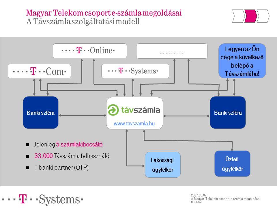 8. oldal 2007.03.07. A Magyar Telekom csoport e-számla megoldásai.........