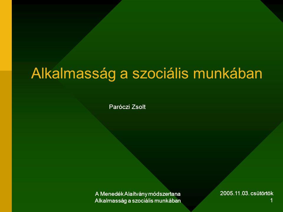 2005.11.03. csütörtök A Menedék Alaítvány módszertana Alkalmasság a szociális munkában 1 Alkalmasság a szociális munkában Paróczi Zsolt