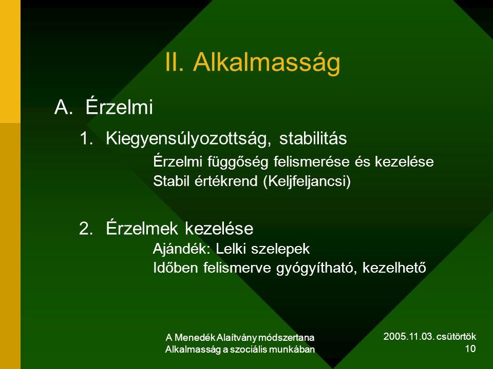 2005.11.03. csütörtök A Menedék Alaítvány módszertana Alkalmasság a szociális munkában 10 II. Alkalmasság A.Érzelmi 1.Kiegyensúlyozottság, stabilitás