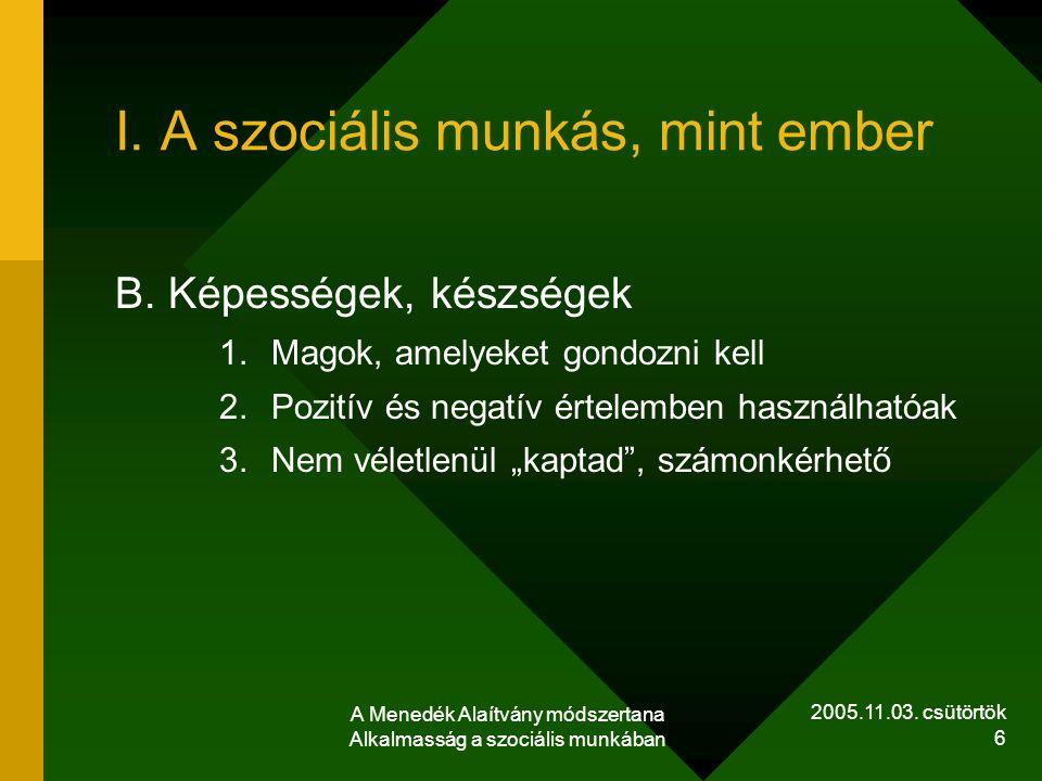2005.11.03. csütörtök A Menedék Alaítvány módszertana Alkalmasság a szociális munkában 6 I. A szociális munkás, mint ember B. Képességek, készségek 1.
