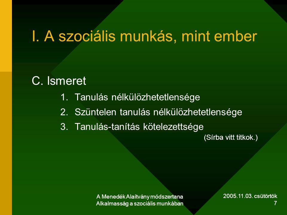 2005.11.03. csütörtök A Menedék Alaítvány módszertana Alkalmasság a szociális munkában 7 I. A szociális munkás, mint ember C. Ismeret 1.Tanulás nélkül