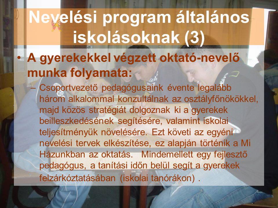 Nevelési program általános iskolásoknak (3) A gyerekekkel végzett oktató-nevelő munka folyamata: –Csoportvezető pedagógusaink évente legalább három al