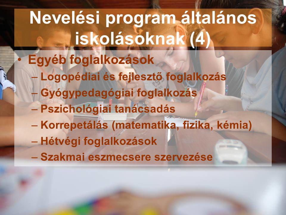 Nevelési program általános iskolásoknak (4) Egyéb foglalkozások –Logopédiai és fejlesztő foglalkozás –Gyógypedagógiai foglalkozás –Pszichológiai tanácsadás –Korrepetálás (matematika, fizika, kémia) –Hétvégi foglalkozások –Szakmai eszmecsere szervezése