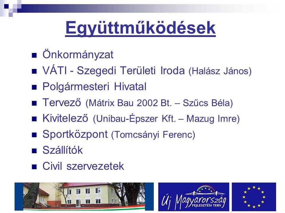 Együttműködések Önkormányzat VÁTI - Szegedi Területi Iroda (Halász János) Polgármesteri Hivatal Tervező (Mátrix Bau 2002 Bt.