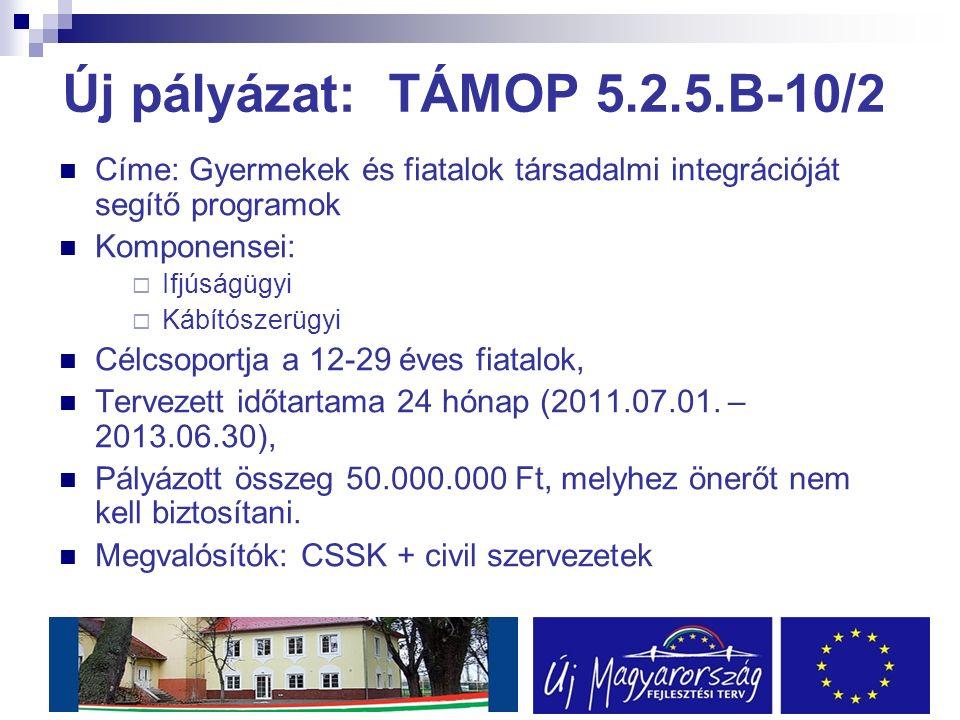 Új pályázat: TÁMOP 5.2.5.B-10/2 Címe: Gyermekek és fiatalok társadalmi integrációját segítő programok Komponensei:  Ifjúságügyi  Kábítószerügyi Célcsoportja a 12-29 éves fiatalok, Tervezett időtartama 24 hónap (2011.07.01.