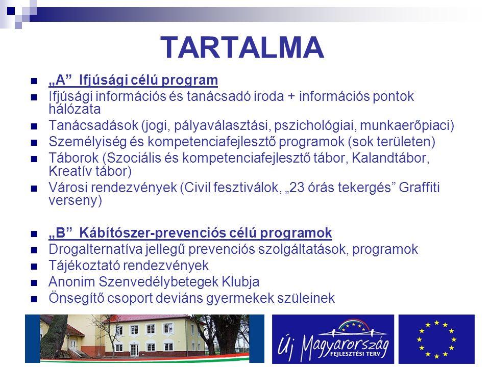 """TARTALMA """"A Ifjúsági célú program Ifjúsági információs és tanácsadó iroda + információs pontok hálózata Tanácsadások (jogi, pályaválasztási, pszichológiai, munkaerőpiaci) Személyiség és kompetenciafejlesztő programok (sok területen) Táborok (Szociális és kompetenciafejlesztő tábor, Kalandtábor, Kreatív tábor) Városi rendezvények (Civil fesztiválok, """"23 órás tekergés Graffiti verseny) """"B Kábítószer-prevenciós célú programok Drogalternatíva jellegű prevenciós szolgáltatások, programok Tájékoztató rendezvények Anonim Szenvedélybetegek Klubja Önsegítő csoport deviáns gyermekek szüleinek"""