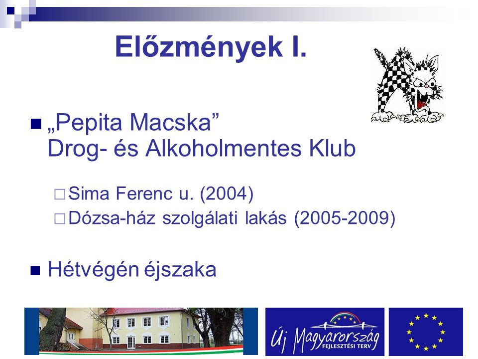 """Előzmények I. """"Pepita Macska Drog- és Alkoholmentes Klub  Sima Ferenc u."""
