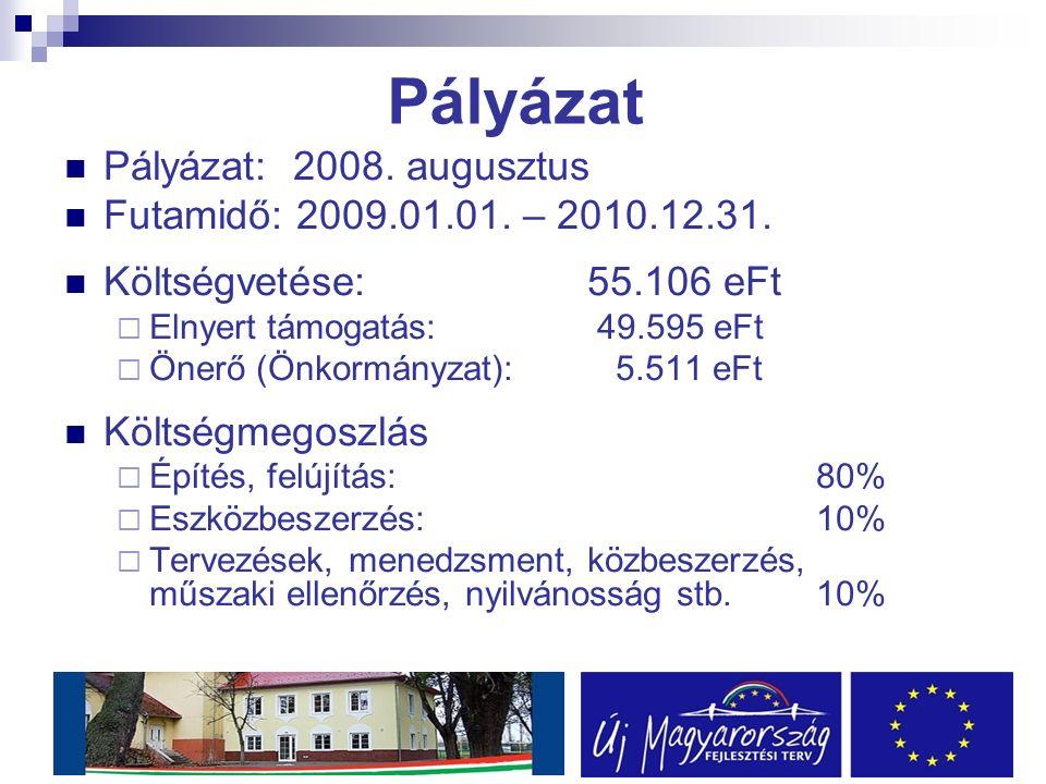 Pályázat Pályázat: 2008. augusztus Futamidő: 2009.01.01.