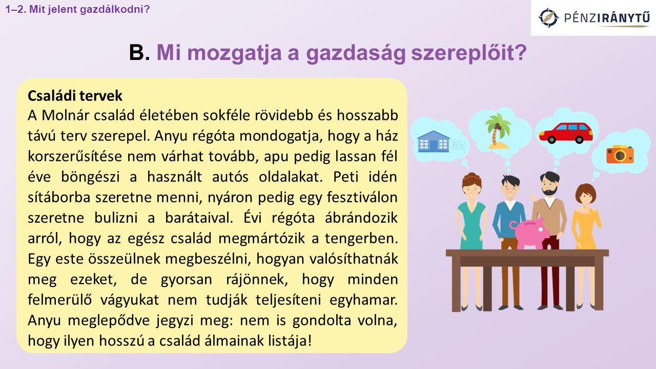 Családi tervek A Molnár család életében sokféle rövidebb és hosszabb távú terv szerepel.