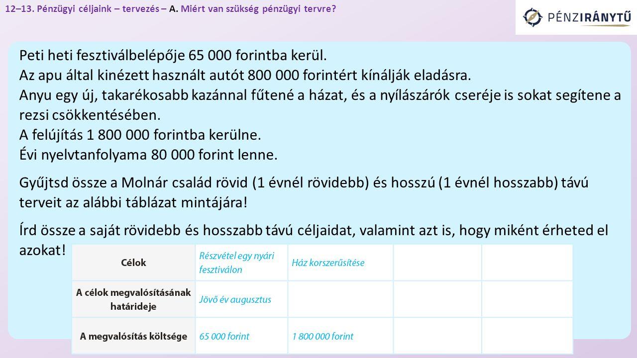 Peti heti fesztiválbelépője 65 000 forintba kerül. Az apu által kinézett használt autót 800 000 forintért kínálják eladásra. Anyu egy új, takarékosabb