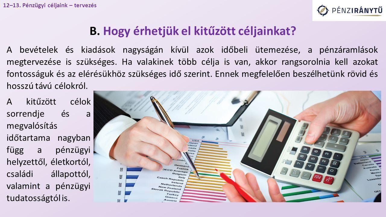 A bevételek és kiadások nagyságán kívül azok időbeli ütemezése, a pénzáramlások megtervezése is szükséges.