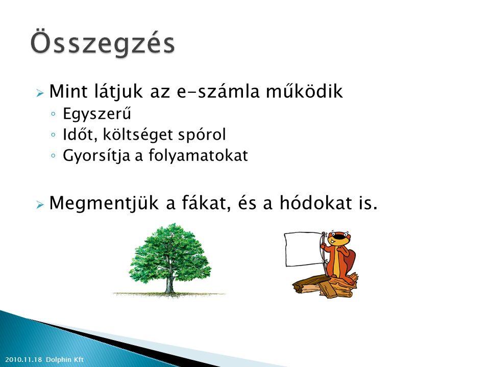  Mint látjuk az e-számla működik ◦ Egyszerű ◦ Időt, költséget spórol ◦ Gyorsítja a folyamatokat  Megmentjük a fákat, és a hódokat is. 2010.11.18 Dol
