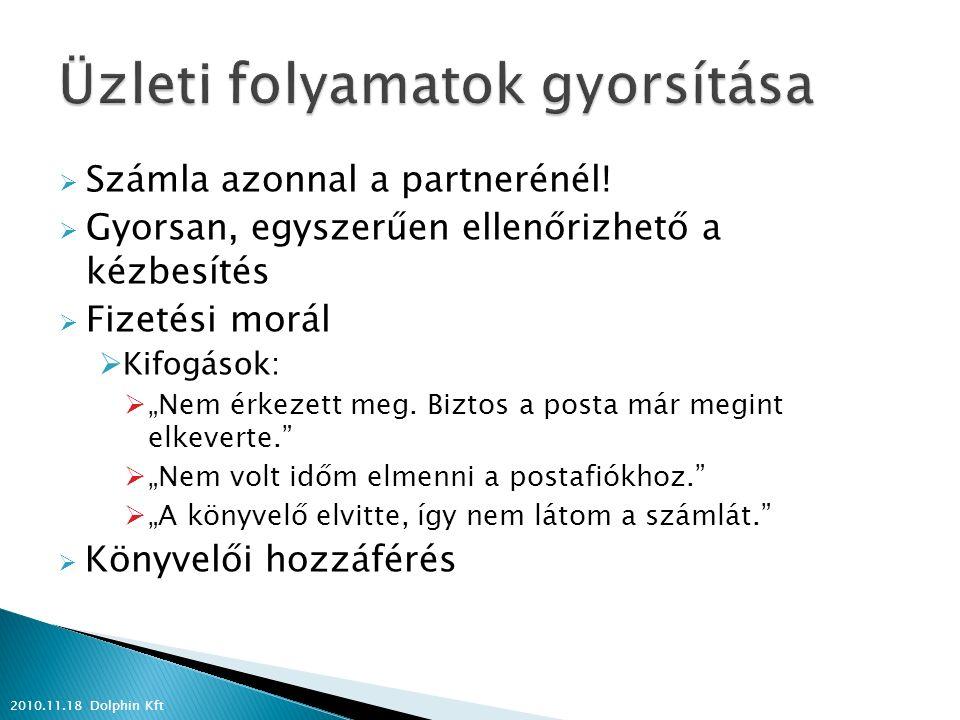  A legfontosabb akcióinkat, információinkat ezen a csatornán is ismertetjük partnereinkkel 2010.11.18 Dolphin Kft