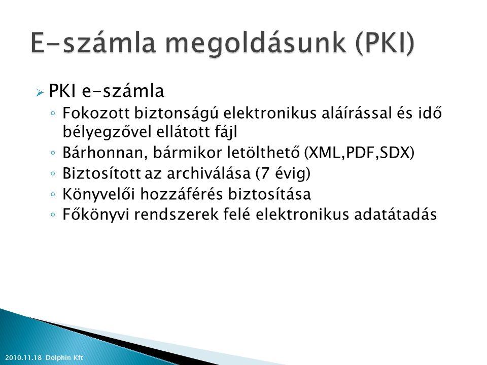  PKI e-számla ◦ Fokozott biztonságú elektronikus aláírással és idő bélyegzővel ellátott fájl ◦ Bárhonnan, bármikor letölthető (XML,PDF,SDX) ◦ Biztosított az archiválása (7 évig) ◦ Könyvelői hozzáférés biztosítása ◦ Főkönyvi rendszerek felé elektronikus adatátadás 2010.11.18 Dolphin Kft