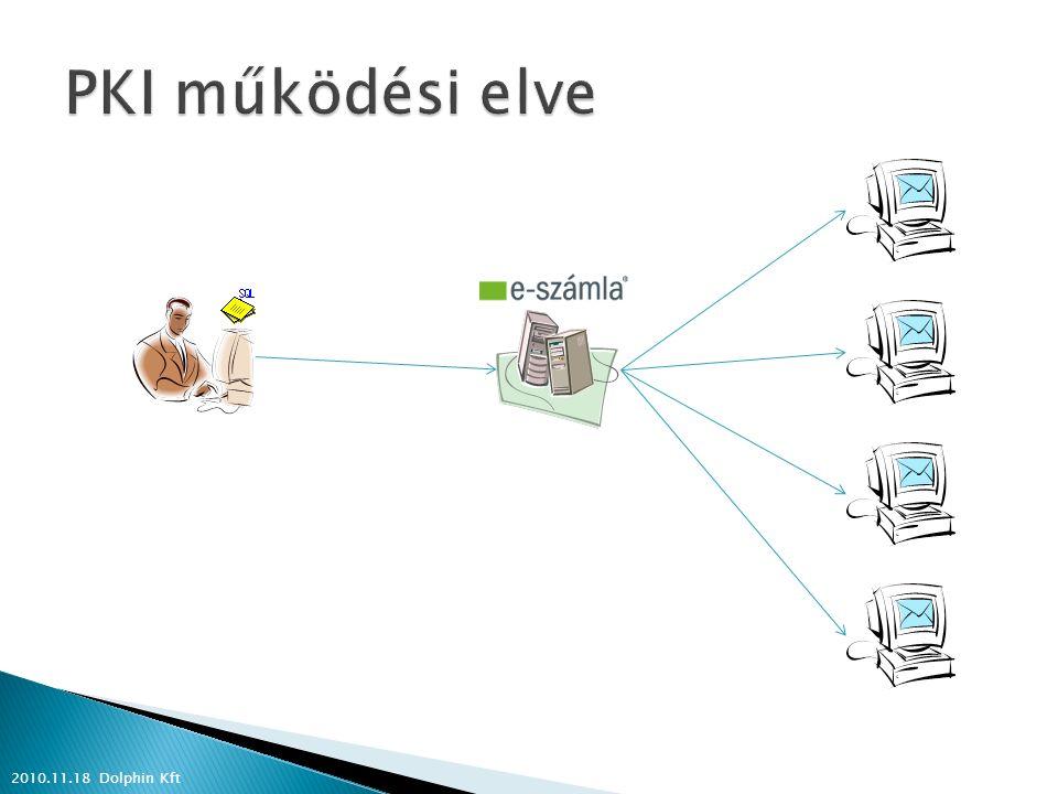  EDI e-számla ◦ Elektronikus adatcsere rendszer, melynek egyik szabványa a számla küldő modul ◦ Kereskedelmi láncok használják főként ◦ Szerződés Kibocsátó és Befogadó között ◦ Havi összesítő a számlákról papír alapon 2010.11.18 Dolphin Kft