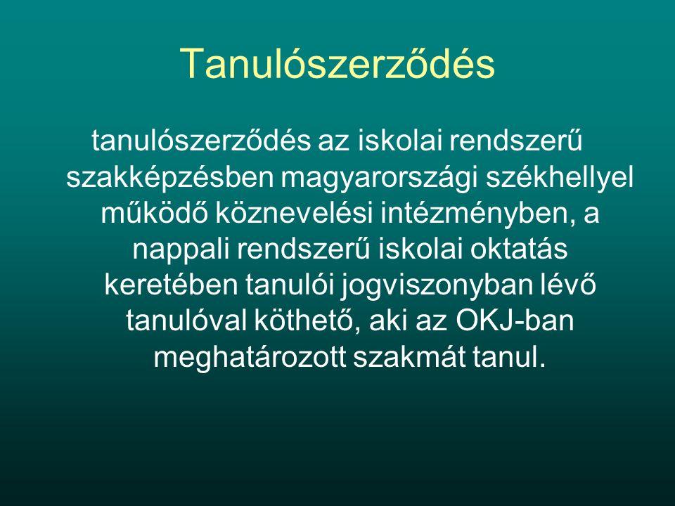 Tanulószerződés tanulószerződés az iskolai rendszerű szakképzésben magyarországi székhellyel működő köznevelési intézményben, a nappali rendszerű iskolai oktatás keretében tanulói jogviszonyban lévő tanulóval köthető, aki az OKJ-ban meghatározott szakmát tanul.