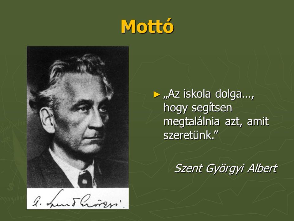 """Mottó ► """"Az iskola dolga…, hogy segítsen megtalálnia azt, amit szeretünk. Szent Györgyi Albert Szent Györgyi Albert"""